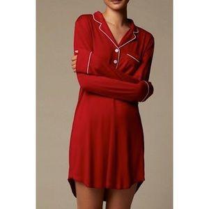 Love & Lore Red Piped Sleep Shirt